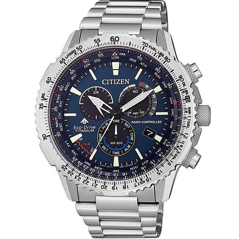 c12ca105d052 Reloj para Hombre Citizen Radiocontrolado Crono Pilot Super Titanium  CB5010-81L