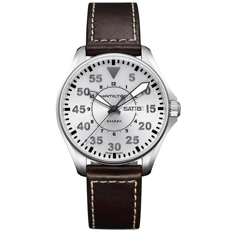 Reloj Day H64611555 Aviation Hombre Date Hamilton Quartz Khaki Pilot HWDIE29